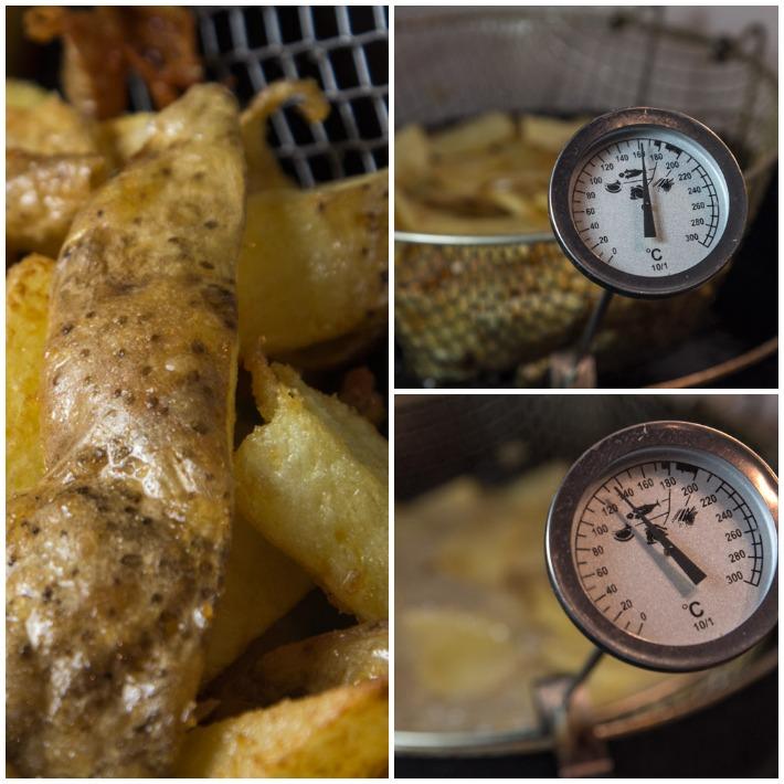 πατατες τηγανητές - πρώτο τηγάνισμα