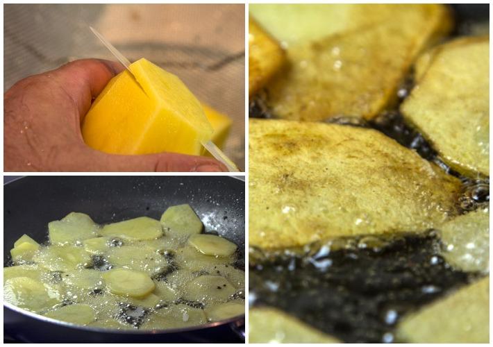 τηγανισμα πατάτας για μουσακά