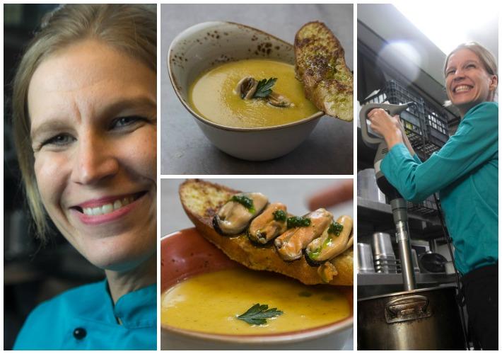 Με τη Sandra Berten στο MamaRoux - σούπα βελουτέ κολοκύθιού με μύδια