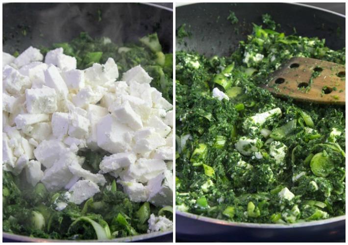 Χορτόπιτα με σπανάκι, πράσο και μανούρι