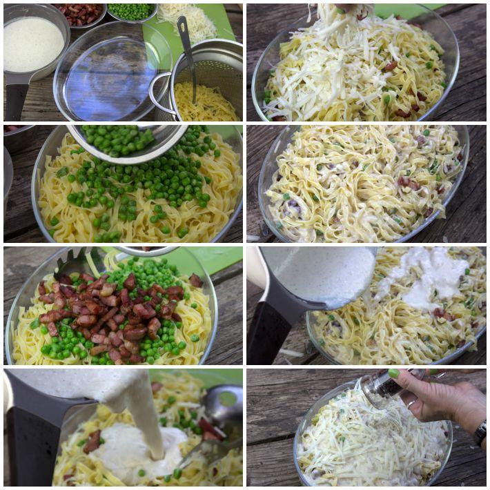Μακαρονια φούρνου με μπεσαμελ, τυρια, αρακά και μπείκον 5