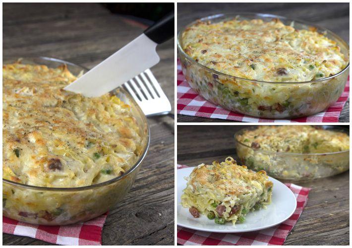 λαζανια φούρνου με μπεσαμελ, τυρια, αρακά και μπείκον 6