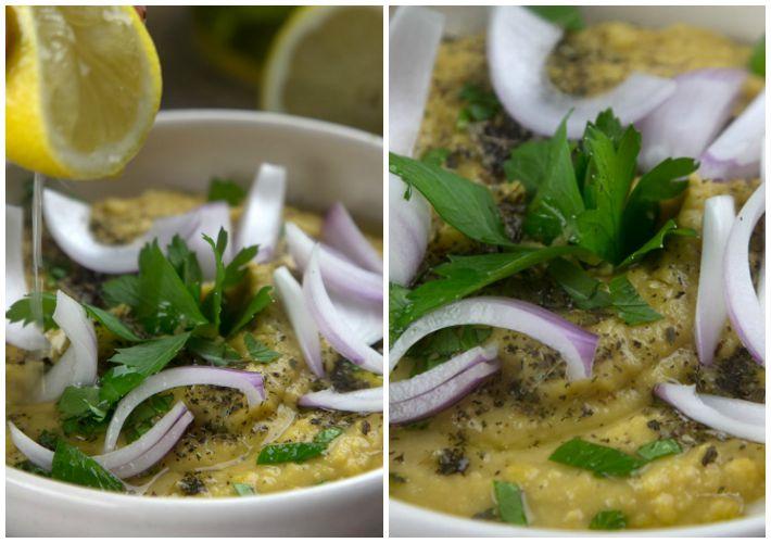 ΦΑΒΑ με παραδοσιακο σερβιρισμα μρεμμύδι, λεμόνι, ρίγανη