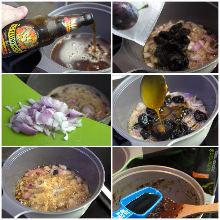 χοιρινή ράχη μπριζόλας φούρνου με σάλτσα δαμάσκηνου