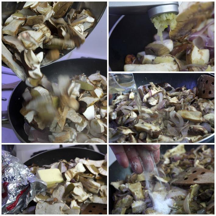 μακαρονια με βασιλομανιταρα φρεσκα  και κρεμμύδι 3