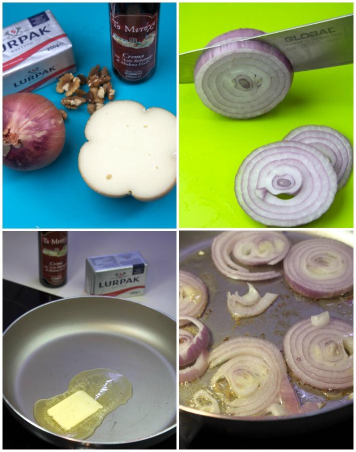 Σάντουιτς με Καραμελωμένο Κρεμμύδι, Μετσοβόνε & καρύδια