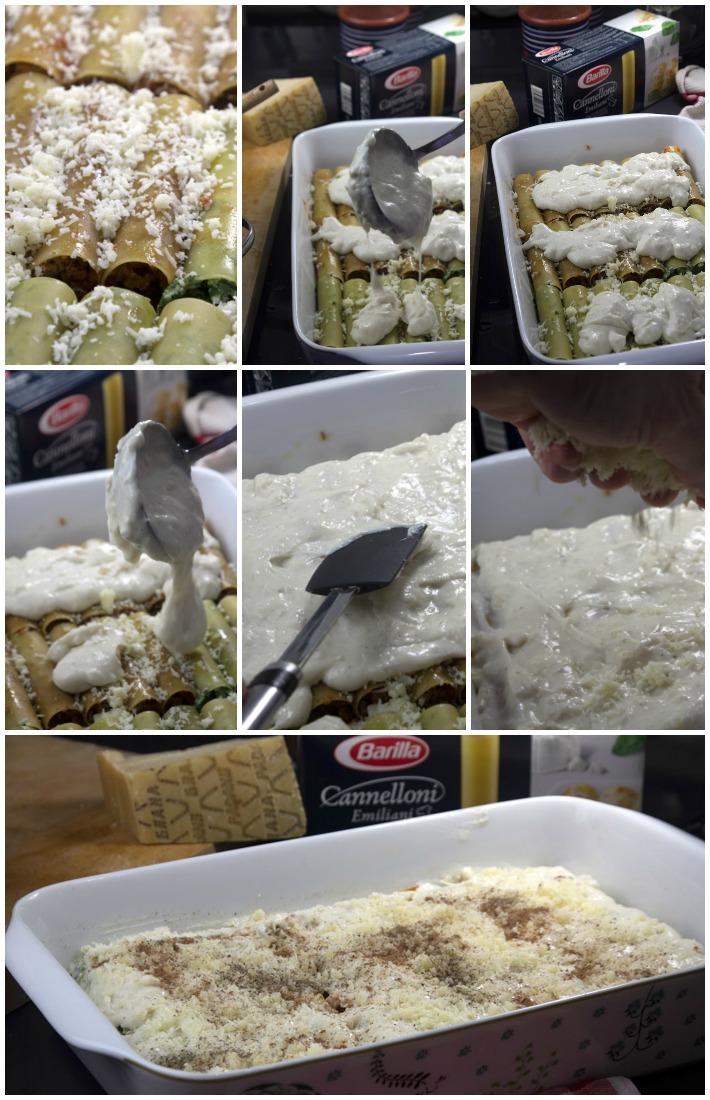 κανελόνι κιμά & σπανάκι ανθότυρο - μπεσαμέλ