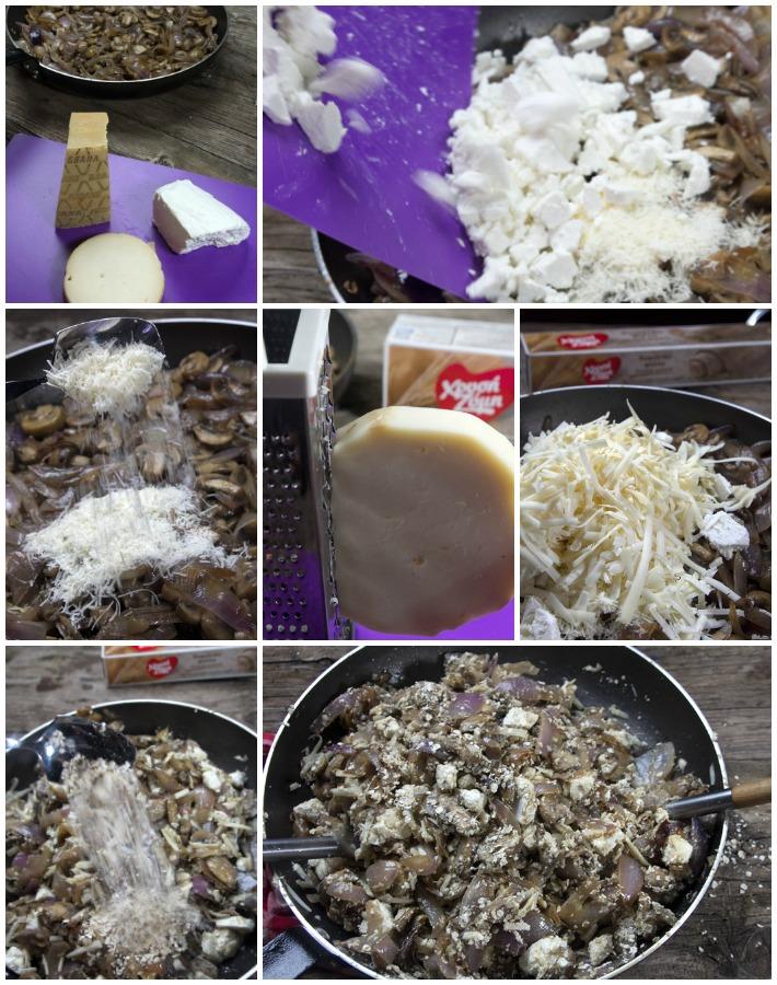 Μανιταρόπιτα σε φύλλο ολικής - η γέμιση - τυριά