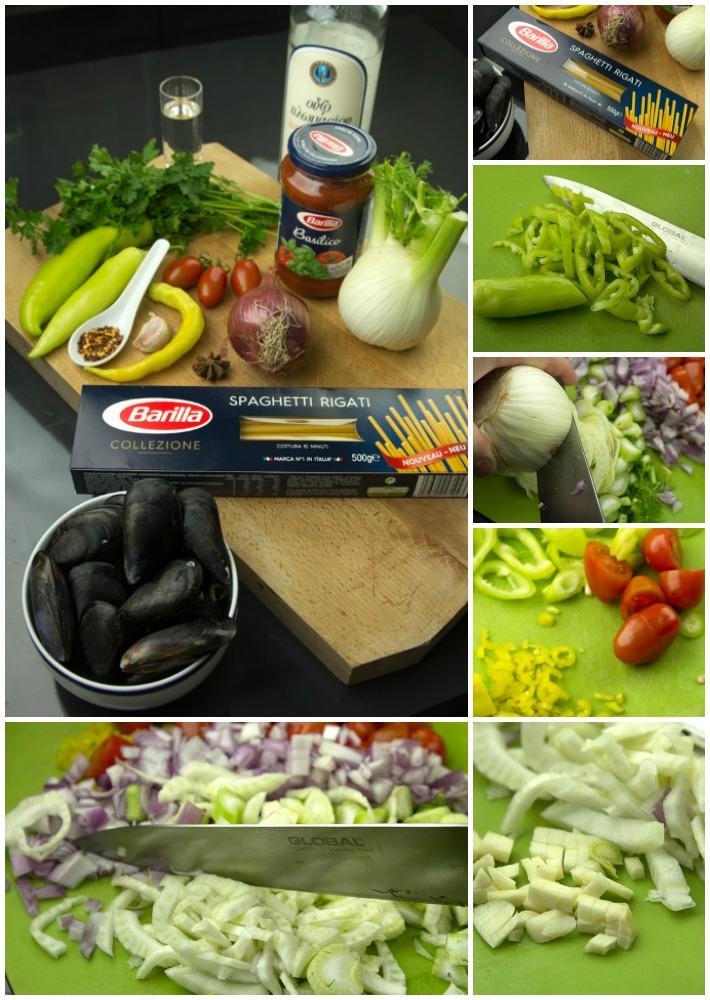 μυδομακαρονάδα με ντομάτα και ούζο