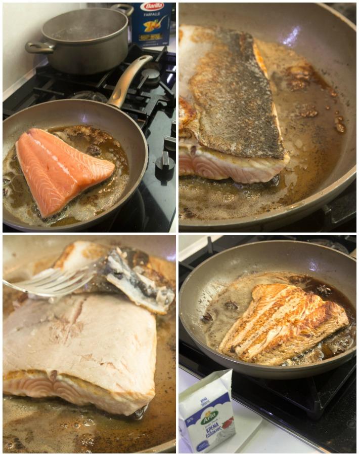 Φιογκάκια με σολομό, κρέμα, μπρόκολο και Σαμπούκα