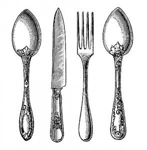 Vintage Silverware Knife, Fork, and Spoon