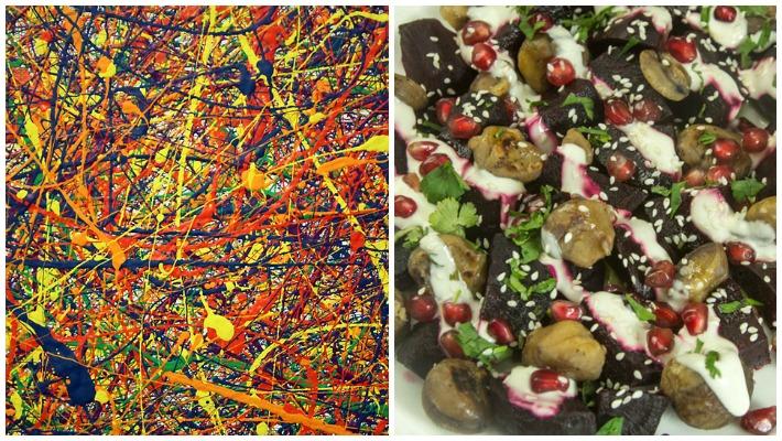 Jackson Pollock kai Χειμωνιάτικη Σαλάτα Παντζαρι Κάστανο Ταχίνι