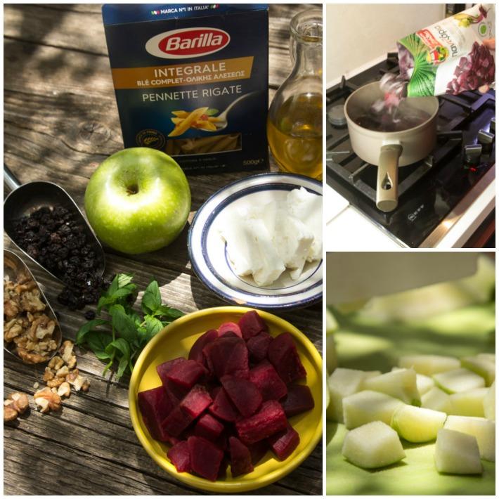 Σαλάτα πέννες ολικής, πέστο παντζαριού και φέτα