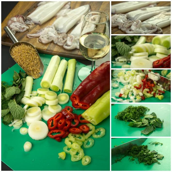 Καλαμάρι γεμιστό με πλιγούρι & λαχανικά