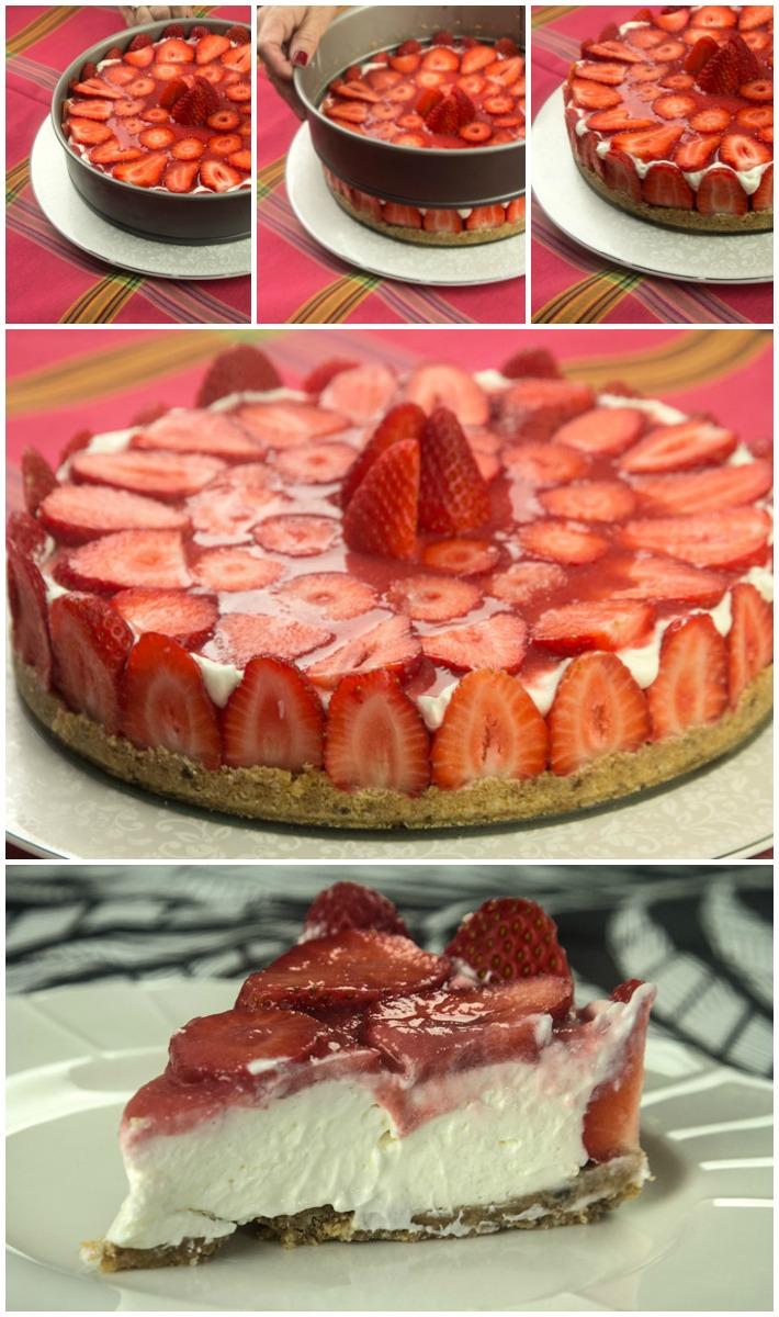 Τσιζκέικ Φράουλες με κουλί φράουλας