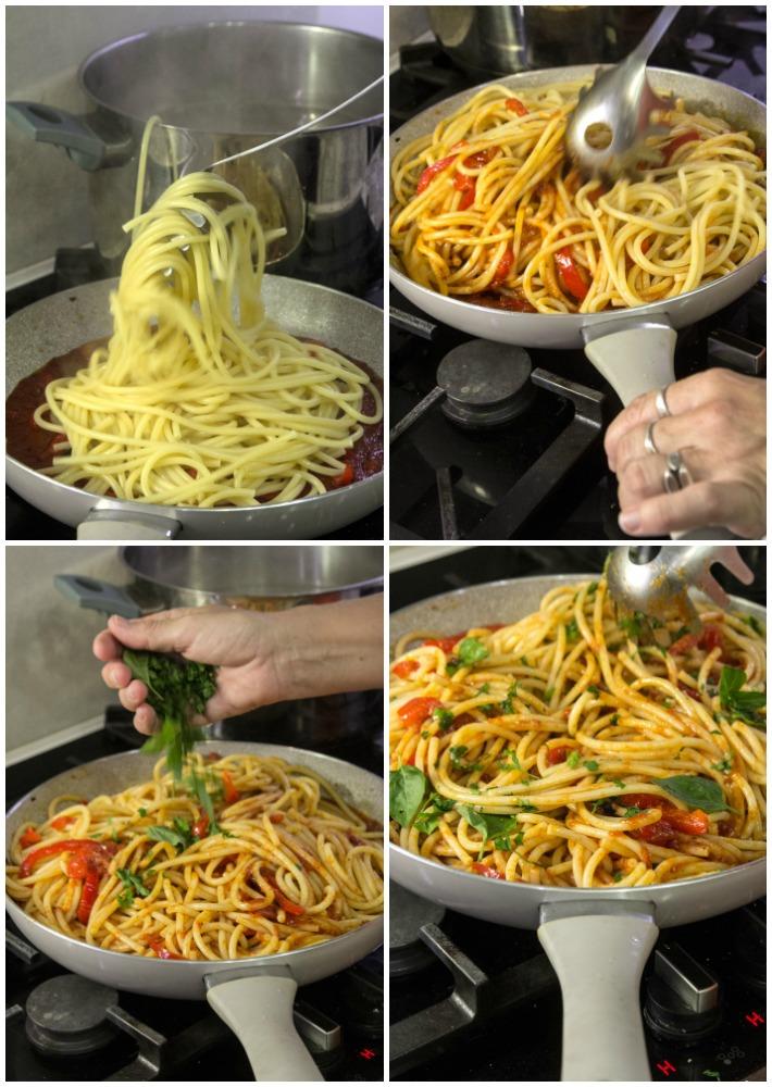 BUCATINI CARUSO με σάλτσα ντομάτα πιπεριά κολοκυθάκια