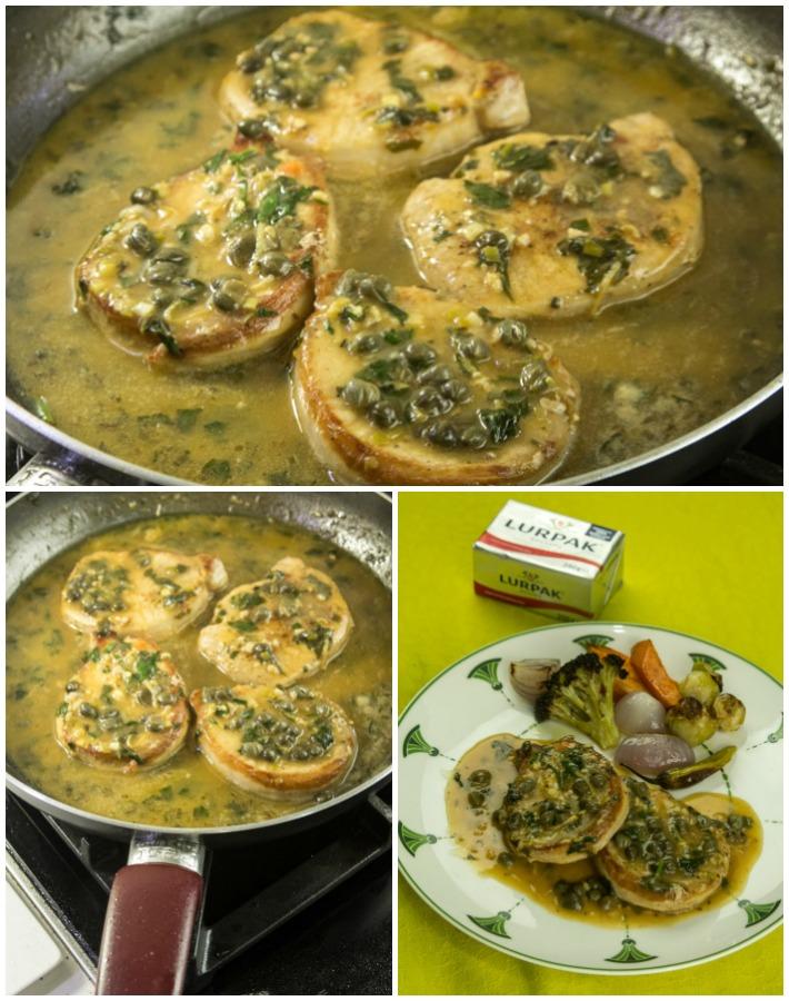 Μπριζόλες χοιρινές με σάλτσα λεμόνι κάπαρη