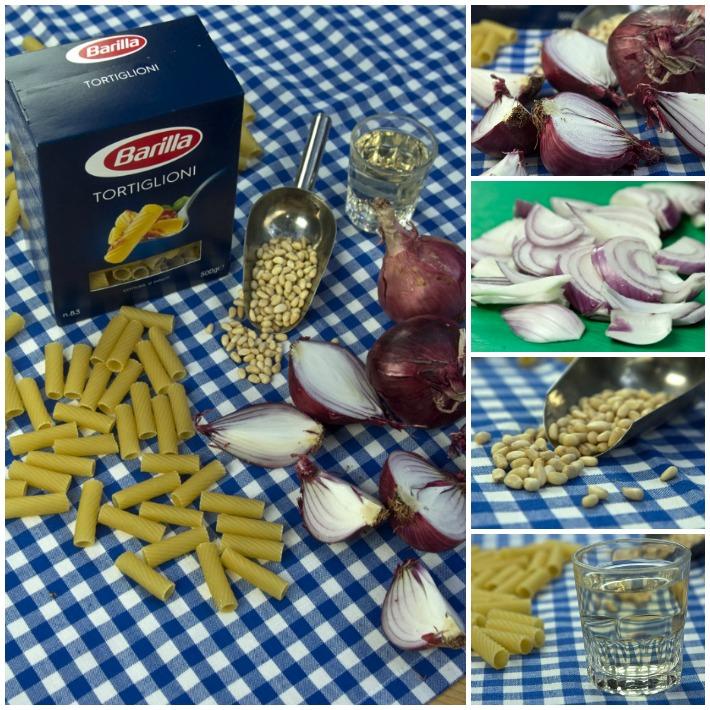 μακαρόνια με καραμελωμένο κρεμμύδι και κουκουνάρι